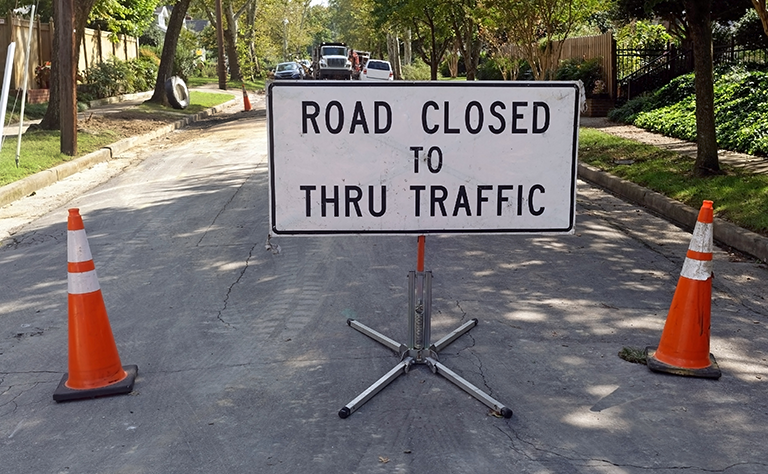 Stock image of road closure